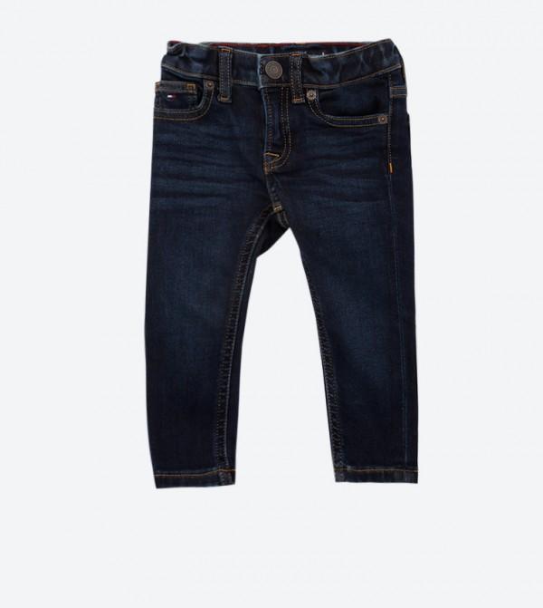 5 Pocket Button Zip Closure Jeans - Blue