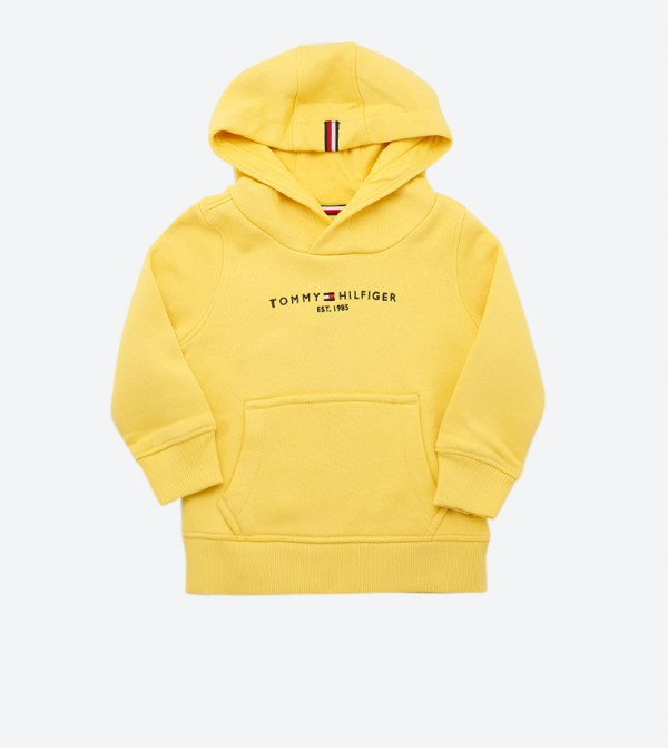 Essential Long Sleeve High Neck Hoodie - Yellow