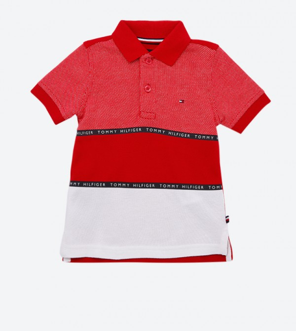 Colorblocked Short Sleeve Colorblocked Polo Shirt - Red