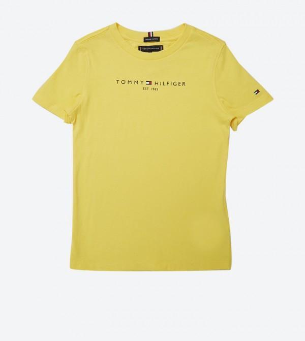 تي شيرت بأكمام قصيرة وياقة دائرية لون أصفر