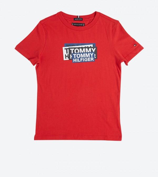 تي شيرت بشعار تومي مطبّع لون أحمر