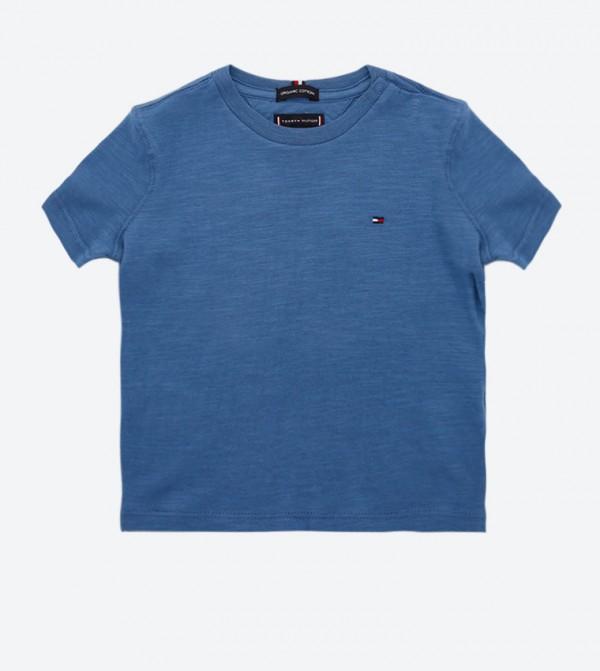 Graphic Print Short Sleeve Round Neck T-Shirt - Blue