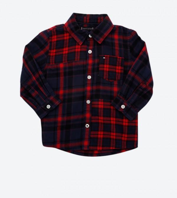 Mixed Check Pattern Classic Collar Shirt - Multi