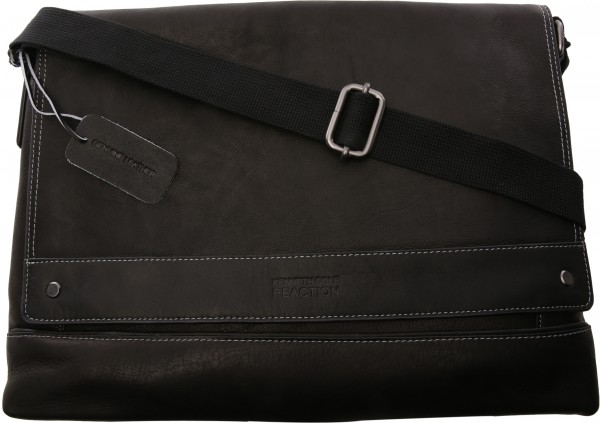 Colombian Leather Collection  Black Messenger Bag-KC529845