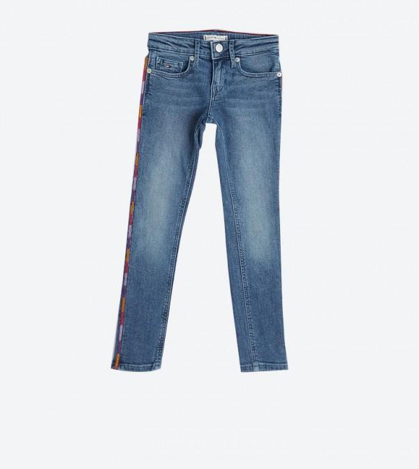 بنطال جينز بخمس جيوب لون أزرق