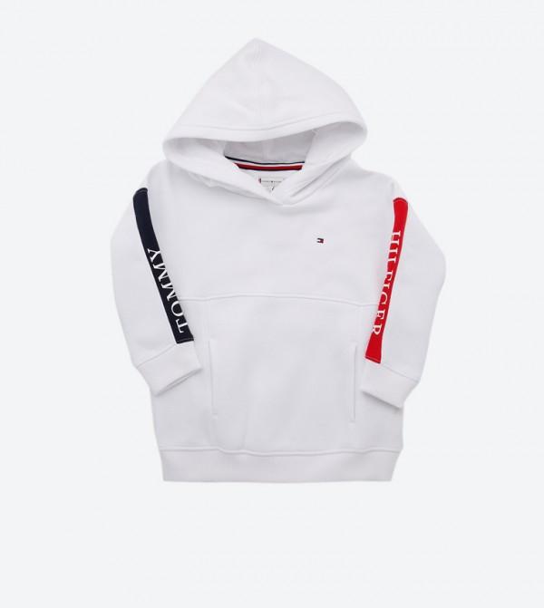 Essential Long Sleeve High Neck Hoodie - White