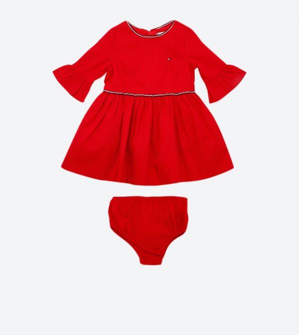 Textured Stripe Round Neck Flared Dress - Red