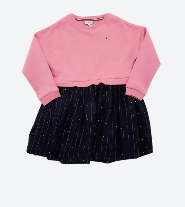 Long Sleeve Round Neck Combo Dress - Pink