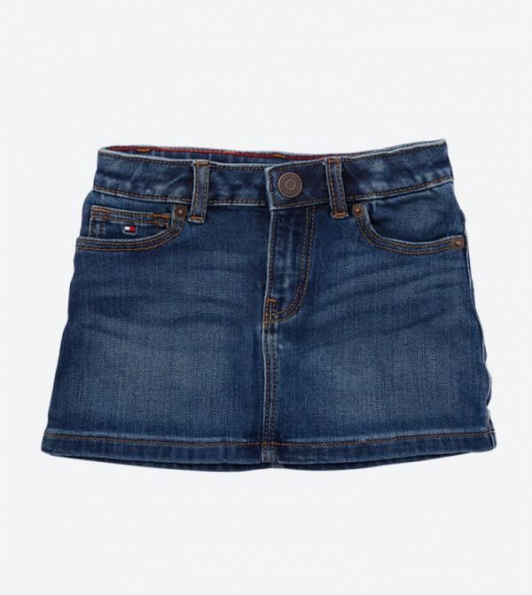 5-Pocket Button Closure Zip Fly Denim Skirt - Blue