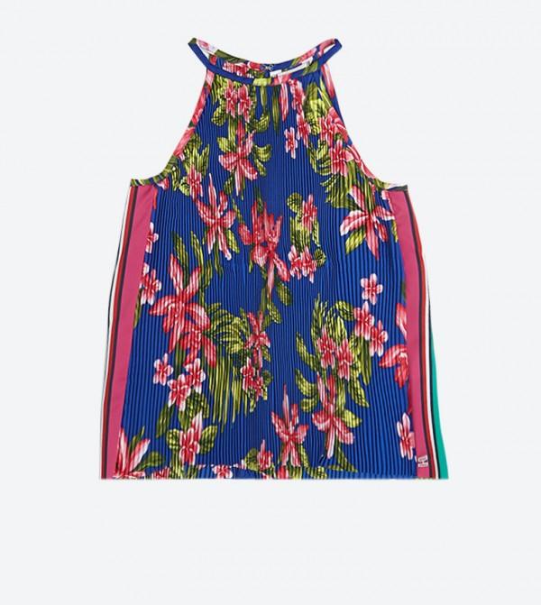 فستان بتصميم إيريكا برسومات زهور لون أزرق