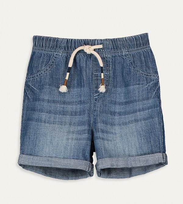 Plain Standard Thin Five Pocket Jean Shorts -Blue