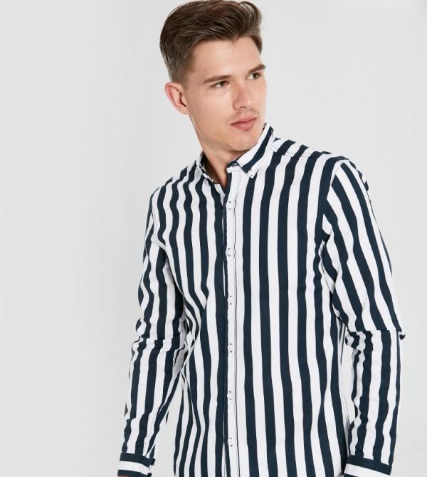 قميص بلوزة منسوج بأكمام طويلة