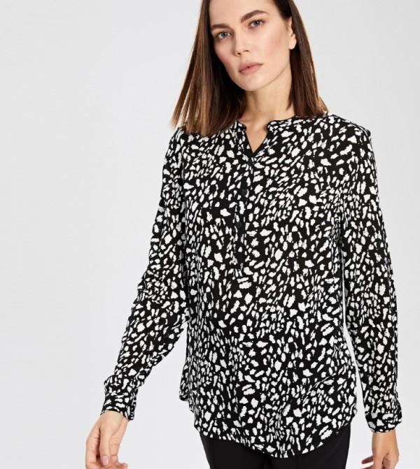 قميص منسوج بأكمام طويلة