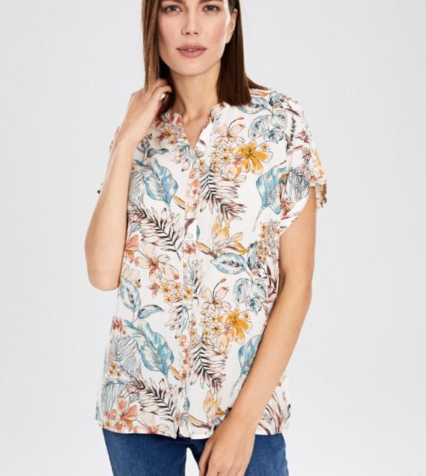 قميص منسوج بأكمام قصيرة