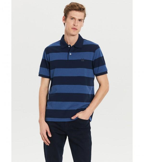 Polo Neck Striped Pique T-Shirt-Blue
