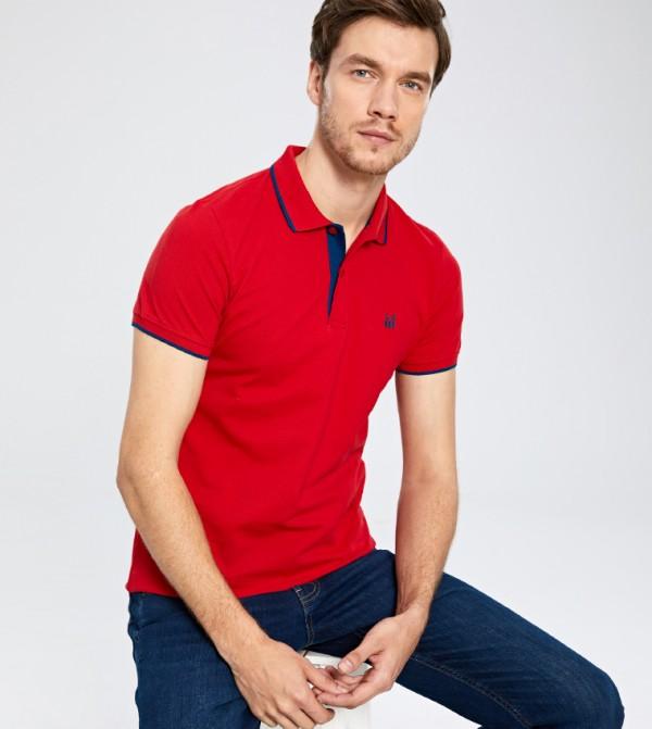 قميص الجسم جيرسي بأكمام قصيرة - أحمر