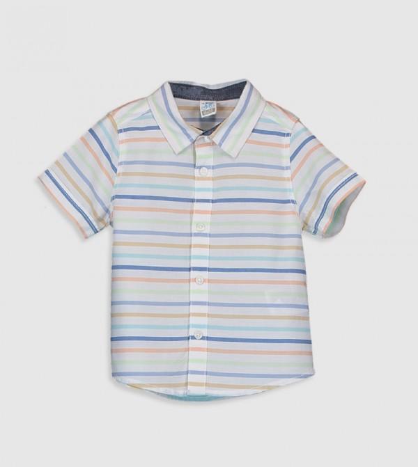 Striped Short Sleeve Standard Shirt Poplin Shirt-Yellow
