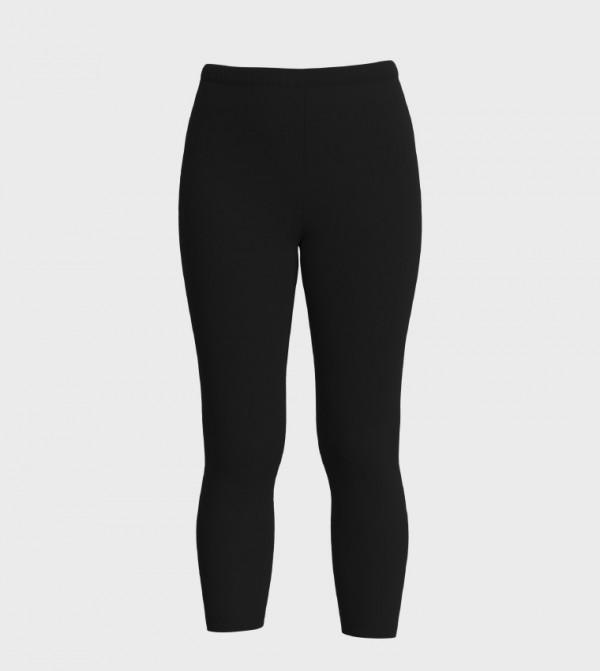 Standard Fit Standard Single Jersey Leggings-Black