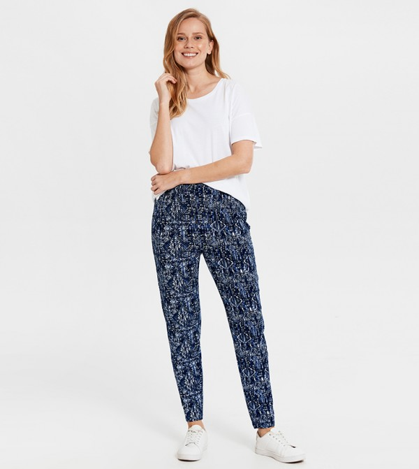 Regular Waist Carrot Elastic Waistband Trousers-Blue