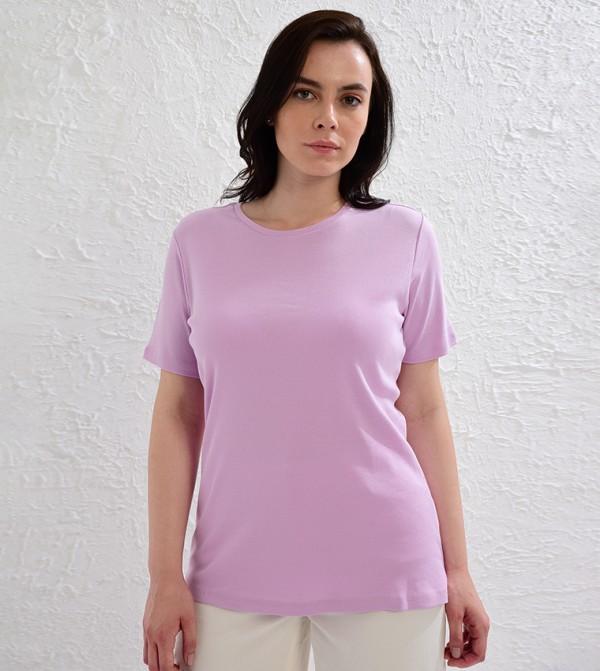 Plain Basic Cotton T-Shirt-Magenta