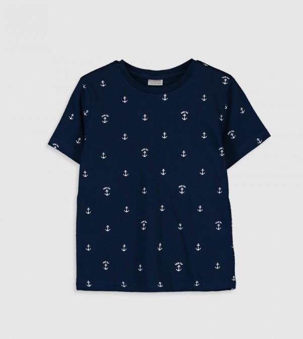 Printed Crew Neck Short Sleeve Thin Single Jersey T-Shirt-Navy