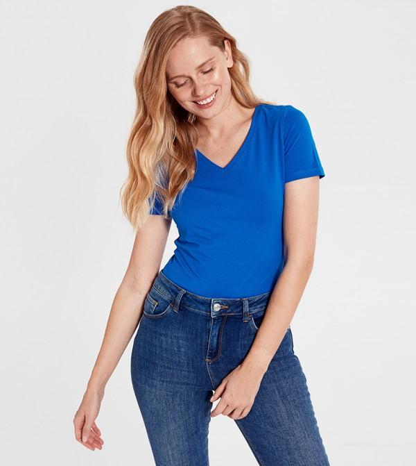 Solid Standard Short Sleeve Polo T-Shirt-Blue