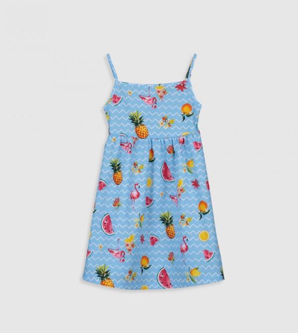Printed Peter Pan Neck Cami Top Standard Thin Poplin Dress-Blue