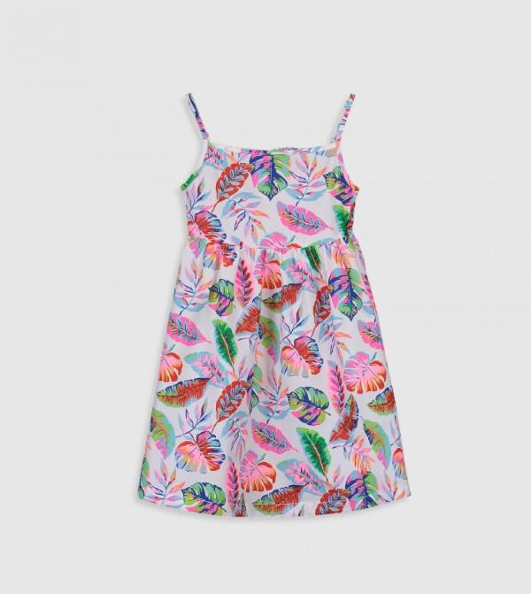 Printed Peter Pan Neck Cami Top Standard Thin Poplin Dress-Ecru
