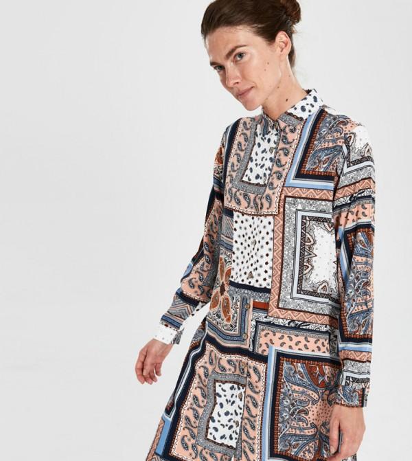 Woven Tunic Long Sleeves - Brick Printed