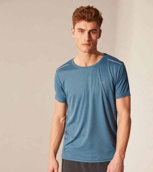 Jersey Body Tshirt Short Sleeves Active Sport - Mid Blue