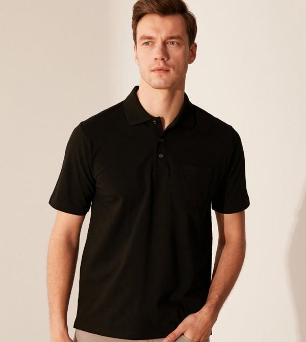 قميص جيرسي بودي بأكمام قصيرة - جديد أسود