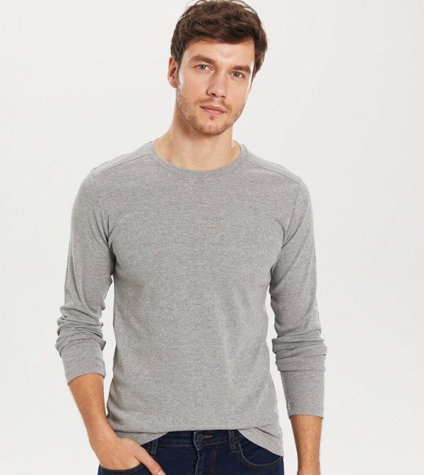 Jersey Body Tshirt Long Sleeves - Grey Melange