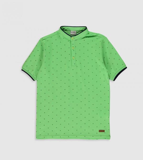 Printed Mandarin Collar Short Sleeve Standard Thin Pique T-Shirt-Green