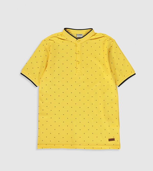 Printed Cotton T-Shirt-Yellow