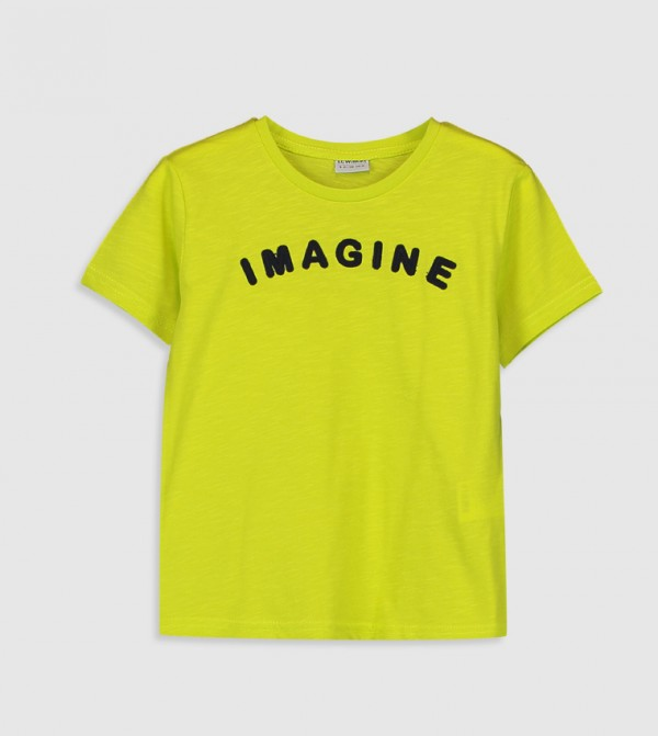 Printed Crew Neck Short Sleeve Thin Single Jersey T-Shirt-Green