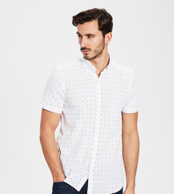 Woven Blouse - White Printed