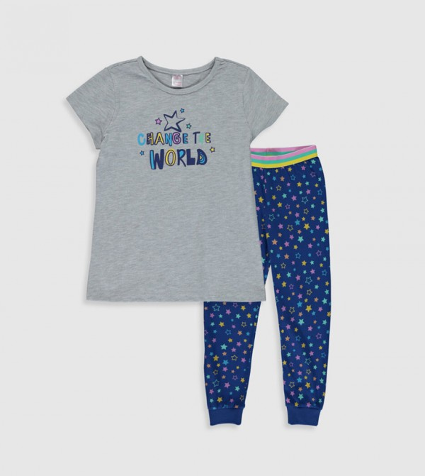 Key Pyjamas Set Short - Grey Melange