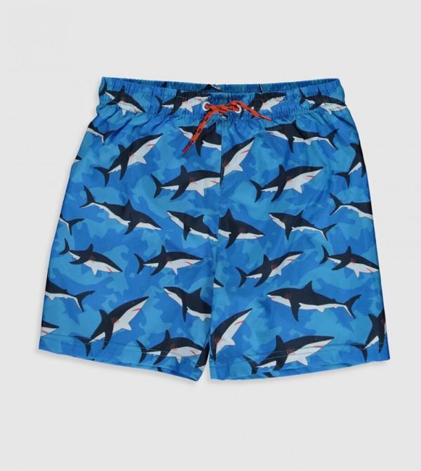 ملابس سباحة منسوجة - مطبوعة باللون الأزرق