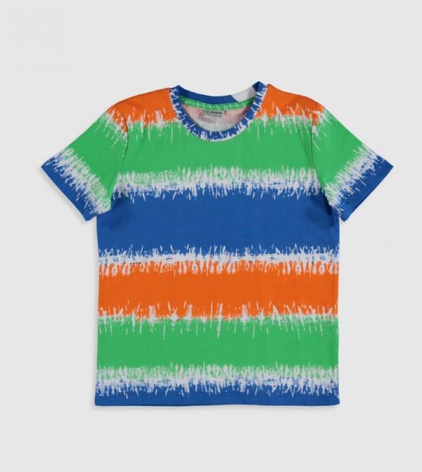 Printed Crew Neck Short Sleeve Thin Single Jersey T-Shirt-Blue