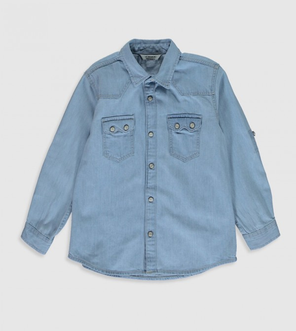 Woven Denim Blouse Shirt Long Sleeves - Light Rodeo