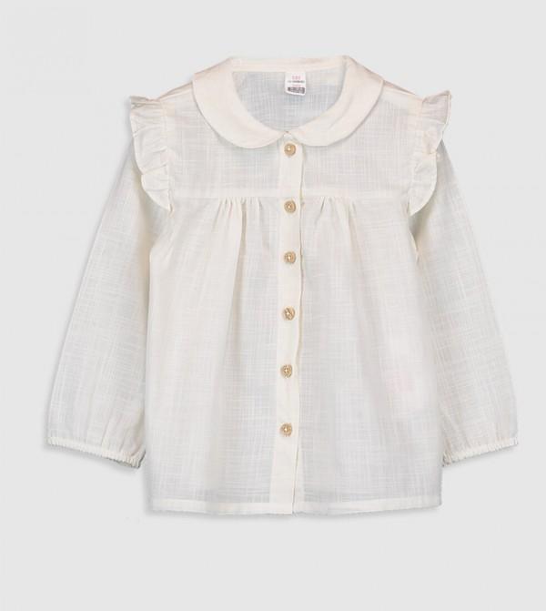 Woven Blouse Shirt Long Sleeves - Cream