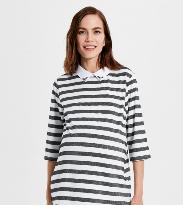 Jersey Body Tshirt Long Sleeves - Navy Striped