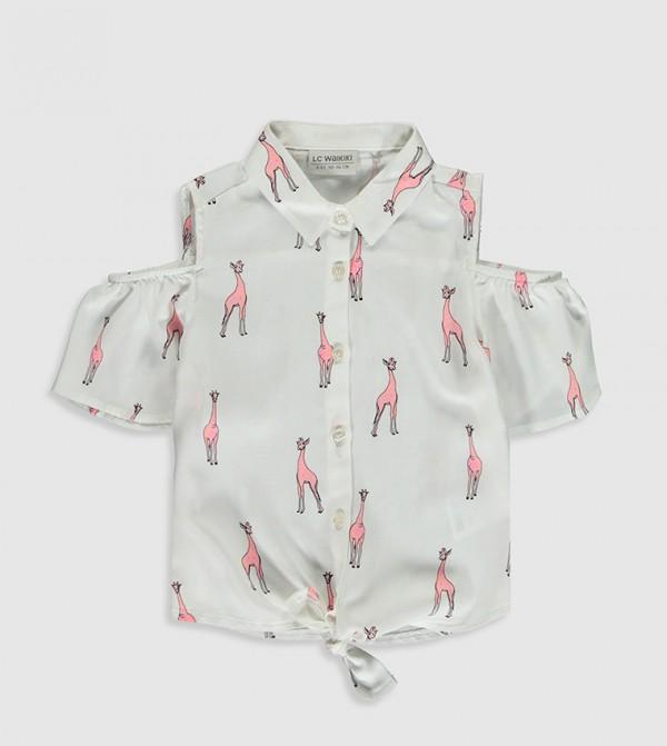 Shoulder Open Viscose Shirt-Ecru Printed