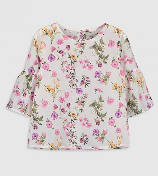 بلوزة منسوجة قميص بأكمام طويلة - مطبوع إكرو