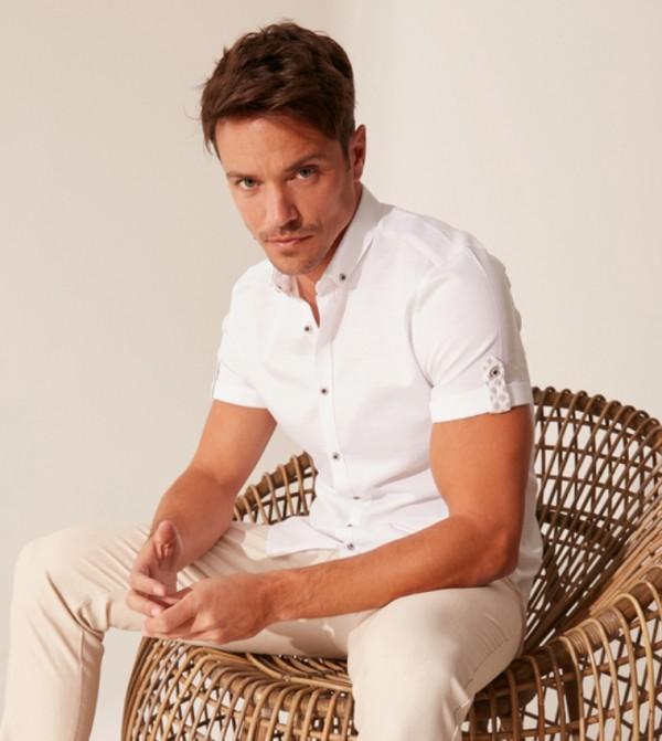 Woven Blouse- Shirt Short-Sleeved-Cr8-Beige-White