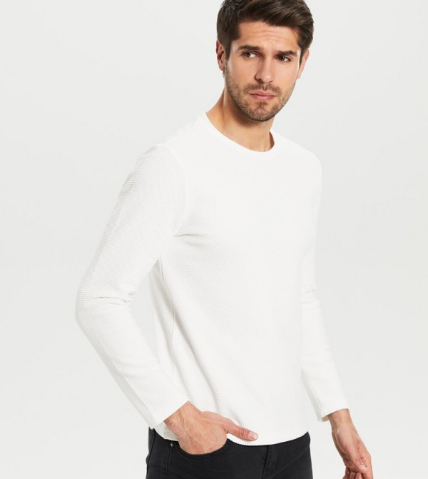 Jersey Body Tshirt Long Sleeves - White