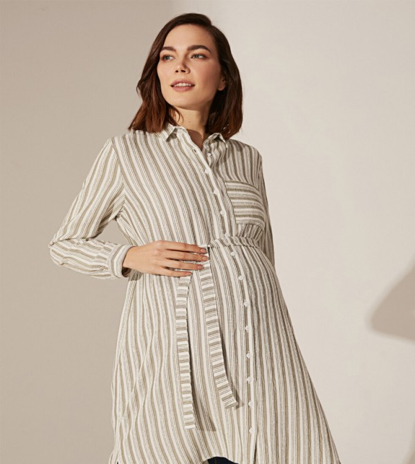 Woven Tunic Long Sleeves - Khaki Striped