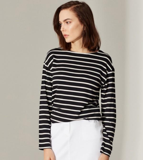 Jersey Body Tshirt Long Sleeves - Black Striped