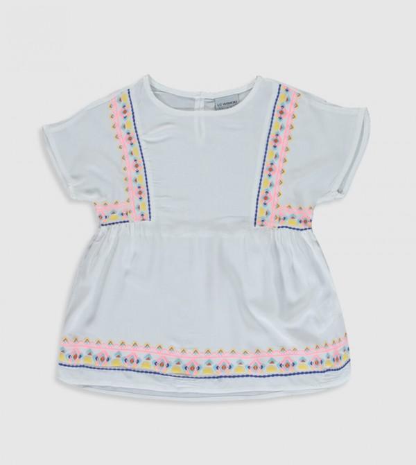 بلوزة منسوجة قميص بأكمام قصيرة - بيج فاتح