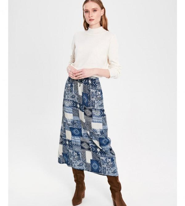 Woven Long Skirt - Blue Printed